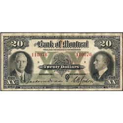 1935 $20 The Bank of Montreal Canada Note