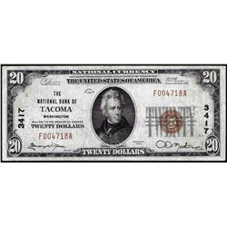 1929 $20 National Bank Tacoma, WA CH# 3417 National Currency Note