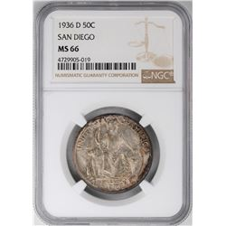 1936-D San Diego Commemorative Half Dollar Coin NGC MS66