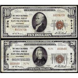 Set of 1929 $10/$20 BofA San Francisco, CA CH# 9174 National Currency Notes