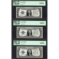 (3) Consecutive 1928A $1 Funnyback Silver Certificate Notes PCGS Very Choice New 64PPQ