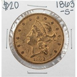 1863-S $20 Liberty Head Double Eagle Gold Coin Civil War Date