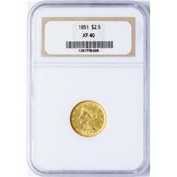 1851 $2 1/2 Liberty Head Quarter Eagle Gold Coin NGC XF40