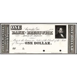 1840 $1 Bank of Brunswick Specimen Obsolete Note