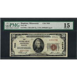 1929 $20 National Currency Note Hopkins, MN CH# 7958 PMG Choice Fine 15