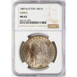 1887/6-O $1 Morgan Silver Dollar Coin NGC MS63 Top-100 VAM-3