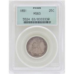 1891 Seated Liberty Quarter Coin PCGS MS63