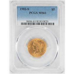 1902-S $5 Liberty Head Half Eagle Gold Coin PCGS MS61