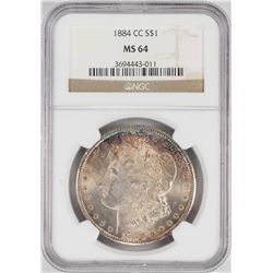 1884-CC $1 Morgan Silver Dollar Coin NGC MS64 Nice Toning