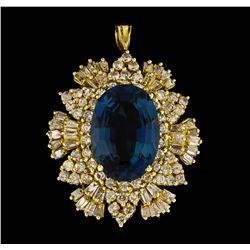 14KT Yellow Gold 12.64 ctw Blue Topaz and Diamond Pendant