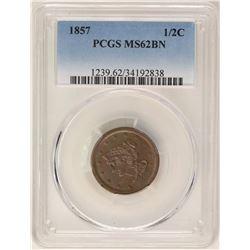 1857 Braided Hair Half Cent Coin PCGS MS62BN