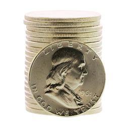 Roll of (20) Brilliant Uncirculated 1961 Franklin Half Dollar Coins