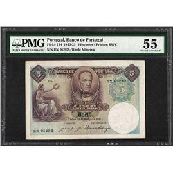 1913-23 Banco de Portugal 5 Escudos Bank Note PMG About Uncirculated 55