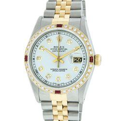 Rolex Men's Two Tone 14K Silver Diamond & Ruby Datejust Wristwatch