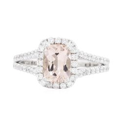 14KT White Gold 1.21 ctw Morganite and Diamond Ring