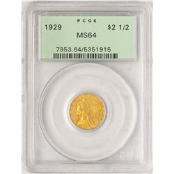 1929 $2 1/2 Indian Head Quarter Eagle Gold Coin PCGS MS64 Old Green Holder