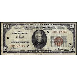 1929 $20 The Federal Reserve Bank Note Chicago