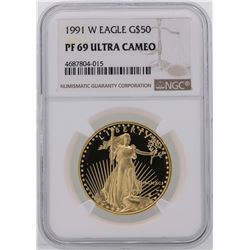 1991-W $50 American Gold Eagle Coin NGC PF69 Ultra Cameo