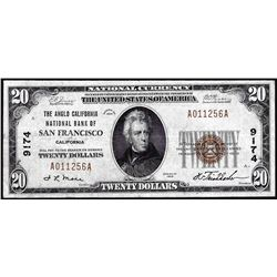 1929 $20 BofA San Francisco, CA CH# 9174 National Currency Note
