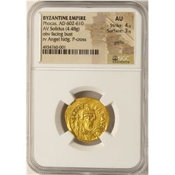 AD 602-610 Phocas Byzantine Empire Solidus Ancient Gold Coin NGC AU