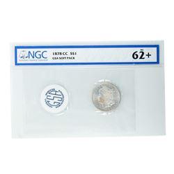 1878-CC $1 Morgan Silver Dollar Coin GSA Soft Pack NGC MS62+ Nice Toning