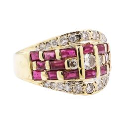 14KT Yellow Gold 1.70 ctw Diamond and Ruby Ladies Ring