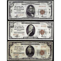Set of 1929 $5/$10/$20 Minneapolis, MN CH# 710 National Currency Notes