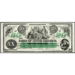 1872 $20 State of South Carolina Revenue Bond Obsolete Note Low Serial Number