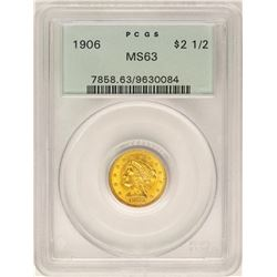 1906 $2 1/2 Liberty Head Quarter Eagle Gold Coin PCGS MS63 OGH