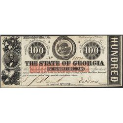1863 $100 The State of Georgia Obsolete Note
