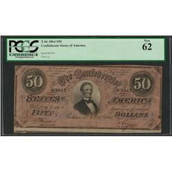 1864 $50 Confederate States of America Note T-66 PCGS New 62
