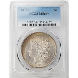 1878-S $1 Morgan Silver Dollar Coin PCGS MS64+ Amazing Reverse Toning