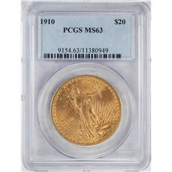 1910 $20 St. Gaudens Double Eagle Gold Coin PCGS MS63
