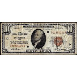 1929 $10 Federal Reserve Bank of Cleveland Note
