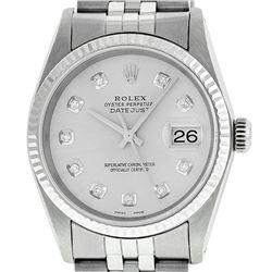 Rolex Men's Stainless Steel Silver Diamond Datejust Wristwatch