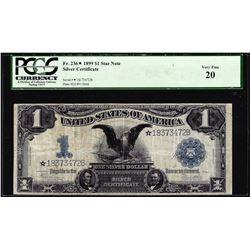 1899 $1 Black Eagle Silver Certificate STAR Note Fr.236 PMG Very Fine 20