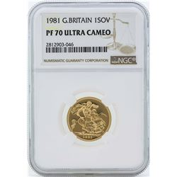 1981 Great Britain Sovereign Gold Coin NGC PF70 Ultra Cameo