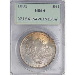 1881 $1 Morgan Silver Dollar Coin PCGS MS64 Old Green Rattler Nice Toning