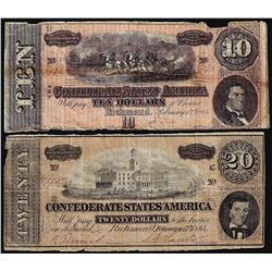 Lot of 1864 $10 & $20 Confederate States of America Notes