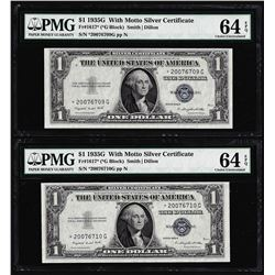 (2) Consecutive 1935G $1 Silver Certificate STAR Notes PMG Choice Uncirculated 64EPQ