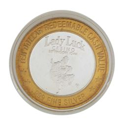 .999 Silver Lady Luck Casino Bettendorf, Iowa $10 Limited Edition Gaming Token
