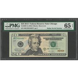 2013 $20 Federal Reserve Note Chicago Radar Serial Number PMG Gem Uncirculated 65EPQ