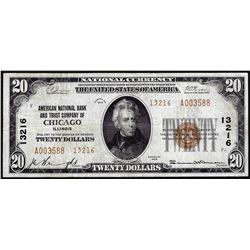 1929 $20 NB & Trust of Chicago, IL CH# 13216 National Currency Note