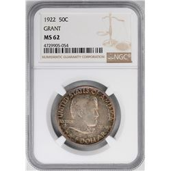 1922 Grant Commemorative Half Dollar Coin NGC MS62 Nice Toning