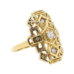 14KT Yellow Gold 0.35 ctw Diamond Ladies Vintage Ring