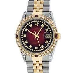 Rolex Mens Two Tone 14K Red Vignette Diamond String & Ruby Datejust Wristwatch