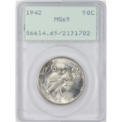 1942 Walking Liberty Half Dollar Coin PCGS MS65 Old Green Rattler