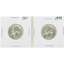 Lot of (2) 1940 Washington Quarter Coins