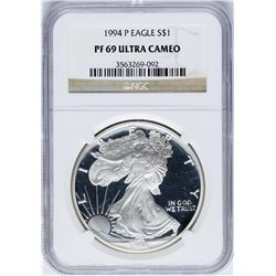 1994-P $1 Proof American Silver Eagle Coin NGC PF69 Ultra Cameo