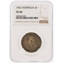 1932 Australia 2 Shillings Coin NGC Graded VF20